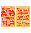 fast food burger pizza and drinks combo menu vector image vector image