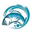 fish on a blue wave water vector image vector image