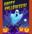 ghosts poster happy halloween funny cute spirit vector image vector image