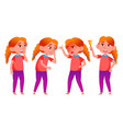 girl schoolgirl kid poses set redhead vector image vector image