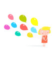 girl standing with balloons vector image vector image