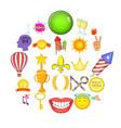 glory icons set cartoon style vector image