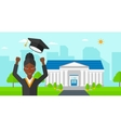 Graduate throwing up his hat vector image