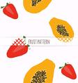 hand drawn strawberries and papaya seamless vector image vector image