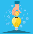 hand with saving in shape light bulb vector image