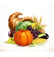 horn plenty harvest fruits and vegetables vector image
