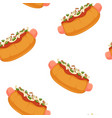 hot dog or fast food with sausage and mustard vector image vector image