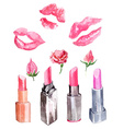 Lipstick lipstick kiss prints and flowers vector image vector image