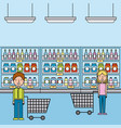 man and woman in supermarket with cart shopping vector image vector image