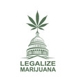 marijuana leaf on capitol vector image vector image