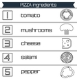 Pizza ingredients infographics in black and white vector image