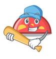 playing baseball semicircle character cartoon vector image