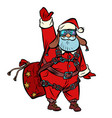 santa claus skydiver wishes you a merry christmas vector image vector image