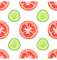 seamless pattern of tomato slices and cucumber vector image vector image