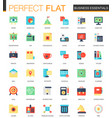 set flat business essentials icons vector image