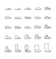 set icons mens shoes line icons vector image