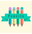set of pencils with a ribbon vector image vector image