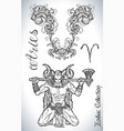 set with aries zodiac sign and mascot drawing vector image vector image
