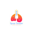 space travelling logo template spacecraft logo vector image vector image