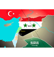 Syria geopolitical map with proposed oil pipeline vector image