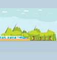 train on railway with forest and mountains vector image