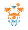 vintage summer design with cocket and palms vector image vector image