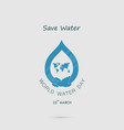 water drop with world icon and human hand logo vector image vector image