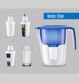 water filters realistic transparent vector image