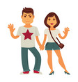 young couple man and woman flat characters vector image