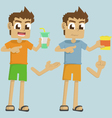 boy hand holding cup and snack vector image