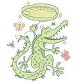 happy crocodile vector image