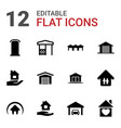 12 roof icons vector image vector image