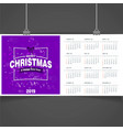 2019 christmas calendar template vector image