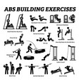abs and abdomen building exercise and muscle vector image vector image