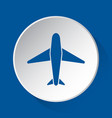 airliner - simple blue icon on white button vector image