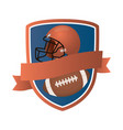 american football balloon and helmet in shield vector image vector image