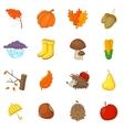 Autumn items icons set cartoon style vector image