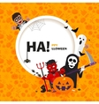banner Happy Halloween with the characters vector image vector image