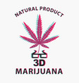 banner with cannabis leaf and 3d glasses vector image vector image