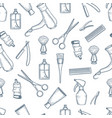 barber shop pattern vintage razor comb scissors vector image