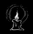black candle burns with a shining flame vector image
