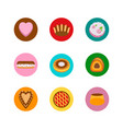 cakes icons in circles vector image vector image