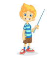 cartoon little boy presenting vector image vector image