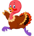 cartoon turkey running vector image