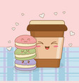 coffee with donuts kawaii characters vector image