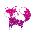 color silhouette cute fox wild animal of the vector image