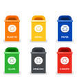 colored trash cans flat isolated vector image vector image