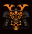 colorful samurai skull vector image vector image