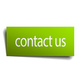 contact us green paper sign on white background vector image vector image