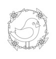 cute bird in decorative floral wreath flowers vector image